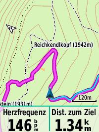 Höhenschichtlinien und Zusatzinfos (Gipfel)