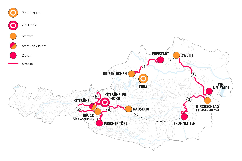 Insgesamt umfasst die Strecke 876,5 Kilometer und 16.322 Höhenmeter.