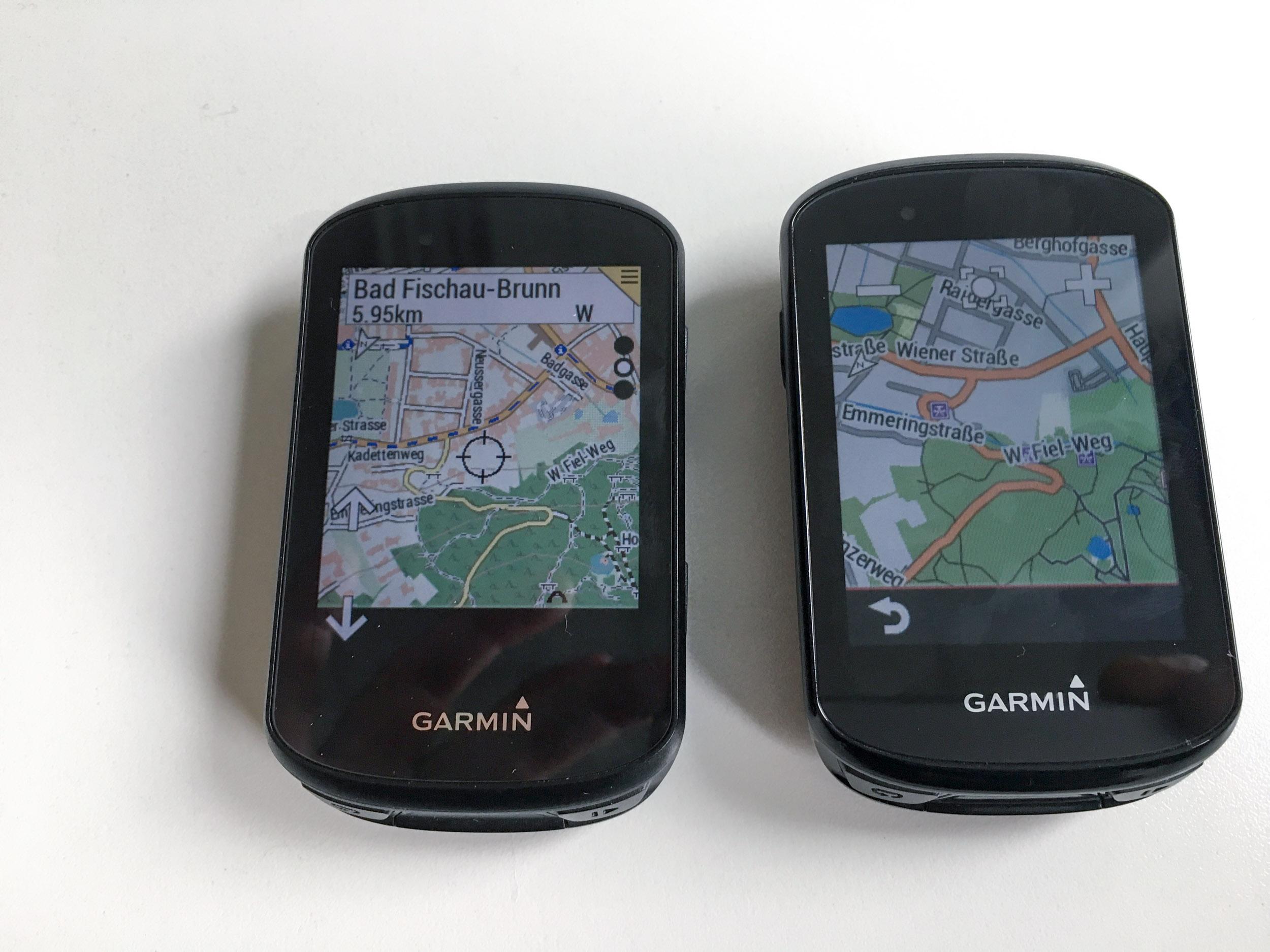 Zoomen und Karte verschieben am Edge 530 (links) und am Edge 830 (rechts)