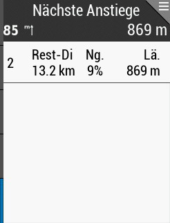 in 13,2 km folgt ein 869 m langer Anstieg mit 9% Durchschnittssteigung, insgesamt verbleiben 85 hm