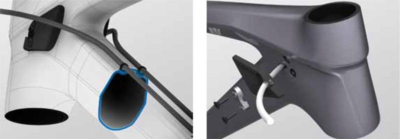 Kabelführung intern (re) oder extern über die MicroTuss-Halterungen.