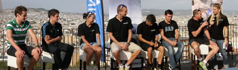 Anschließend standen uns die Garmin-Athleten Alistair & Jonathan Brownlee, Michelle Versterby, Rasmus Petraeus, Joao Silver (der dann auch die olympische Distanz gewinnen sollte), Jose Jeuland und Guido Kunze Rede und Antwort.