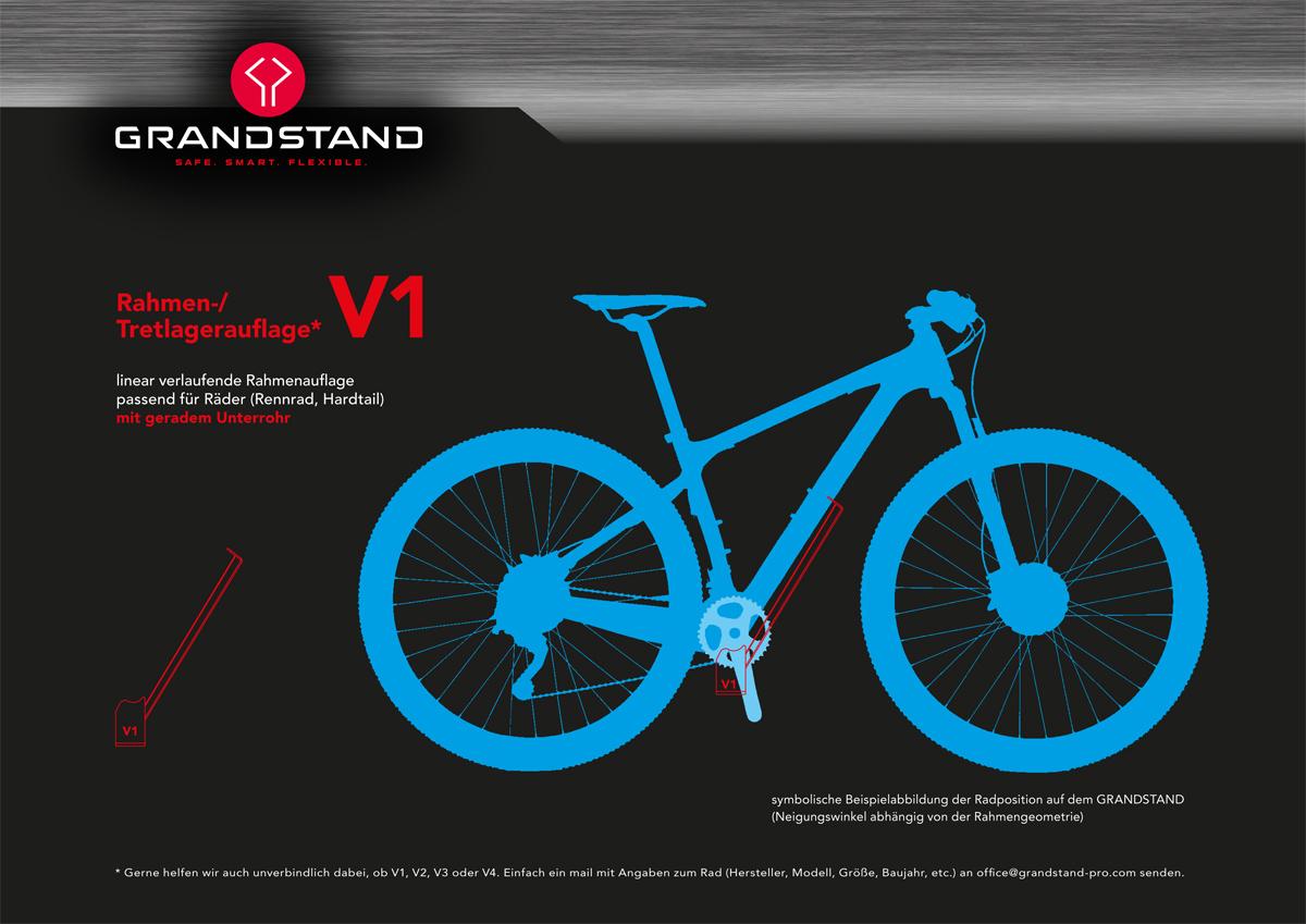 V1 passend für Räder mit geradem Unterrohr (Rennrad, Hardtail)