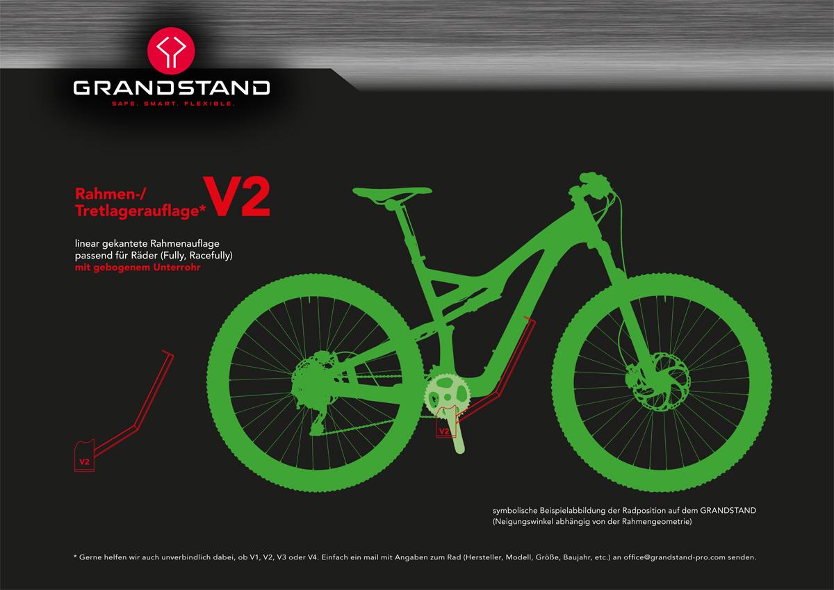 V2 passend für Räder mit gebogenem Unterrohr (Fully, Racefully)