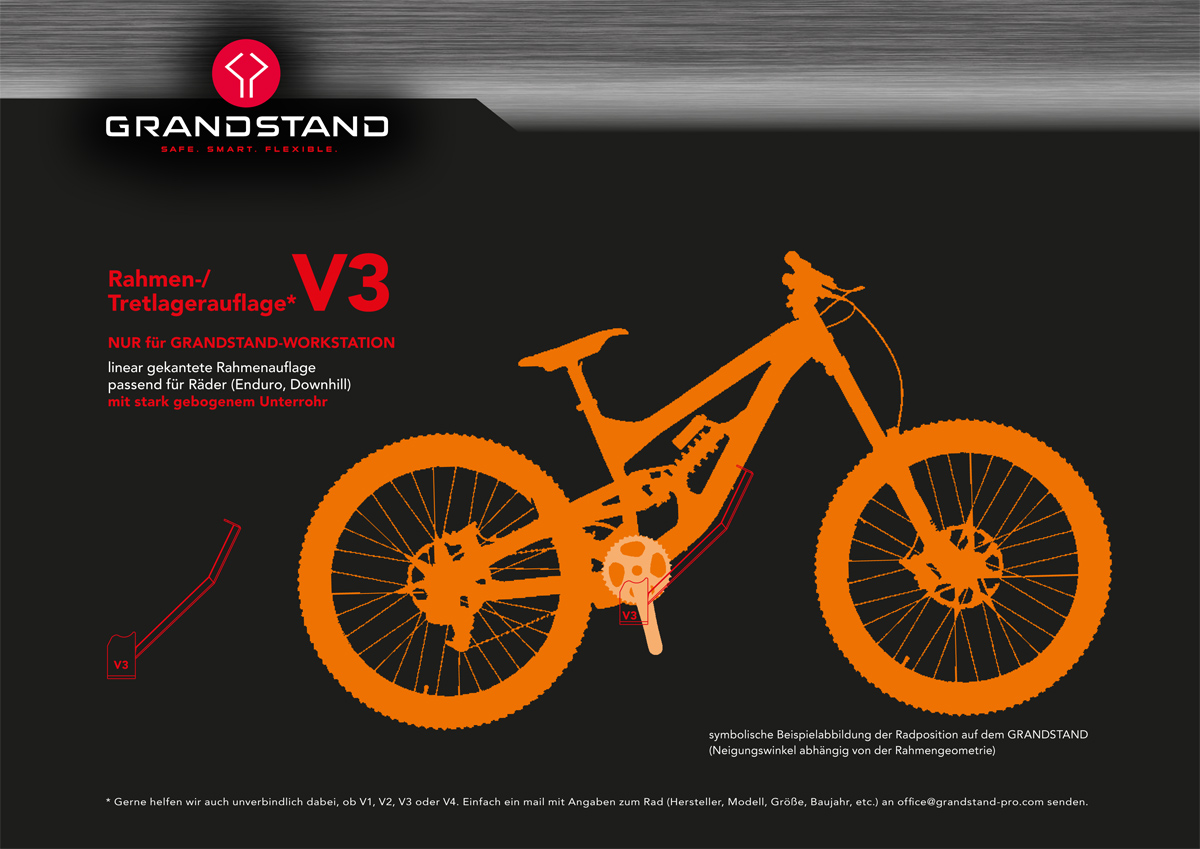 V3 passend für Räder mit stark gebogenen Unterrohr (Enduro, Downhill)