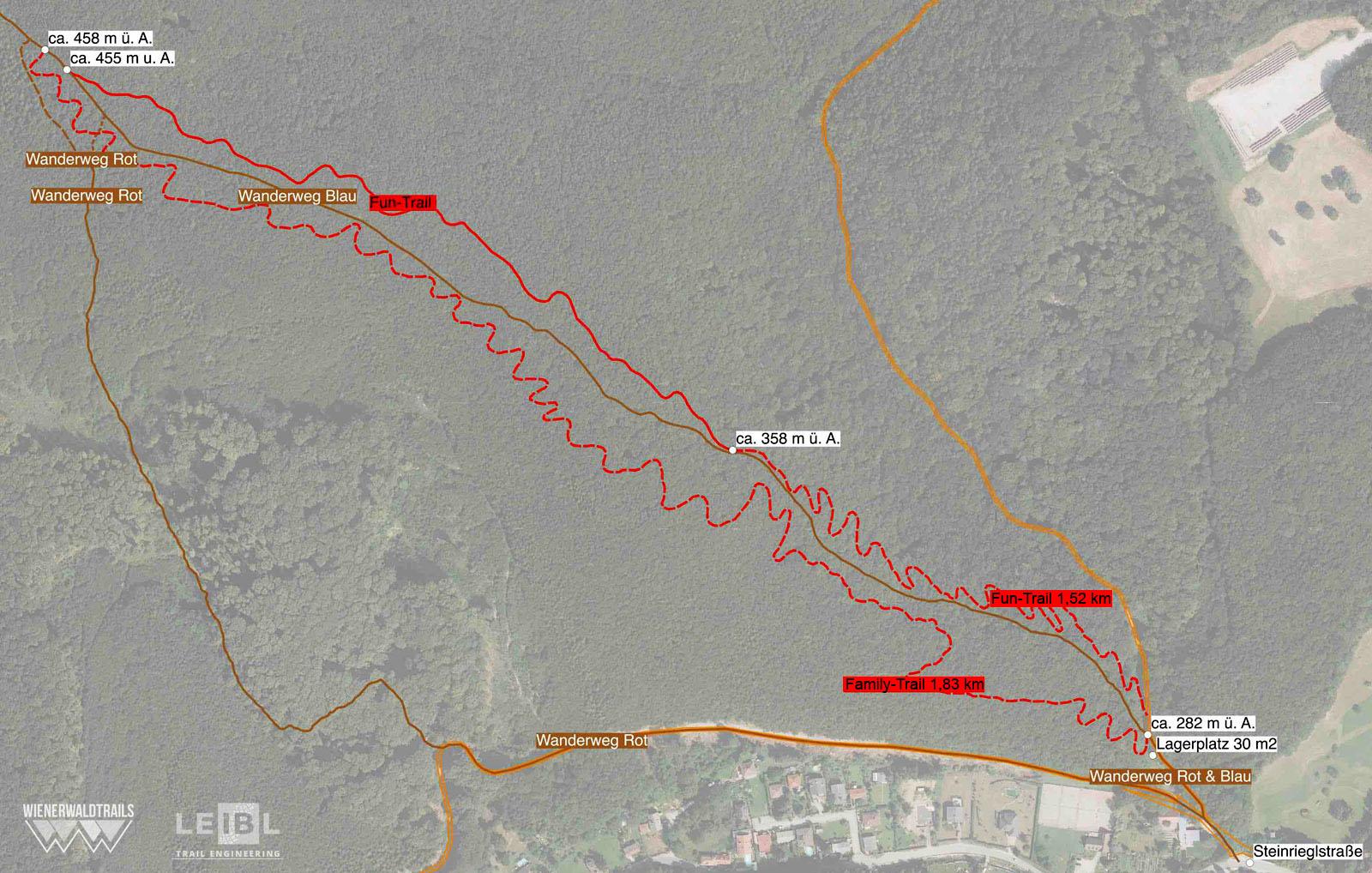 """Geplant sind zwei Strecken mit je 175 Hm: ein einfacher Flow-Trail (""""Family"""") mit vielen Kurven, Wellen und Spaßgarantie für alle, und ein anspruchsvollerer """"Fun-Trail"""" inkl. Airtime - Tables, Hips, Drops - auf den Spuren des alten, illegalen Weges. Vom Wanderweg in der Mitte sind beide räumlich getrennt, was nebst der kompletten Neutrassierung des Family-Trails durch eine teilweise Verlegung des alten Trails im unteren Bereich erreicht wird. Holzbauten sind nicht gestattet, ein Meter Niveauunterschied darf sein."""