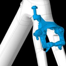Gabel und Rahmen besitzen Aufnahmen für die doppelgelenkigen Direct-Mount-Bremsen. Deren Vorteile: höhere Bremskraft, bessere Modulation, fesche Optik.