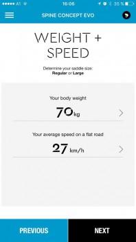 Berechnung: Eingabe des Gewichts und der durchschnittlichen Geschwindigkeit mit dem Rennrad auf ebener Strecke.