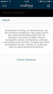 Auch die Kalibrierung mittels Spindown ist während eines Trainings möglich - bevorzugt nach 15-minütigem Warm-Up.