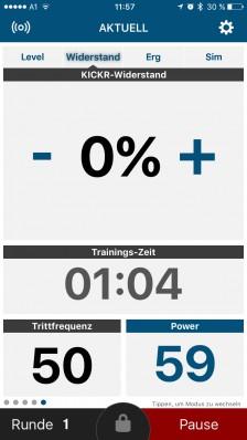 Widerstandsmodus: Kontrolle per Gefühl oder externem Powermeter; manuelles Einstellen des Widerstands der Bremse von 0 bis 100%.