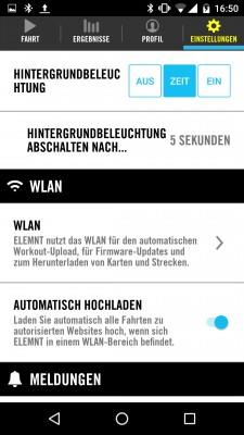 Allgemeine Einstellungen zu Hintergrundbeleuchtung, WLAN und Auto-Upload.