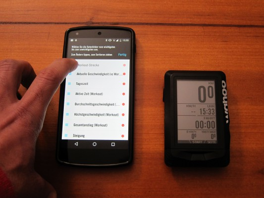 Alles geschieht am Smartphone und der Radcomputer wird in Echtzeit aktualisiert.