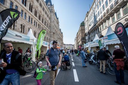 Ebenso gut besucht wie der Parcours für Transporträder war jener für E-Bikes. Dieser trumpfte heuer mit einem Novum auf:
