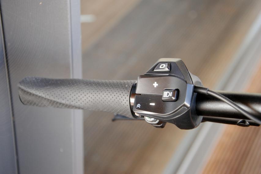 Die kleine Remote RC0 steuert Unterstützungslevel und (wenn vorhanden) Licht, aktiviert den Schiebemodus und  navigiert durch die Menüs.