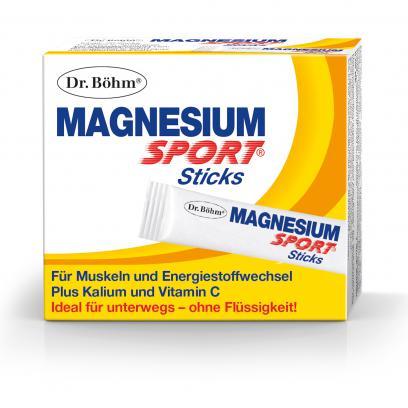 Dr. Böhm® Magnesium Sport® Sticks: Ideal für unterwegs, kein Wasser notwendig, 150 mg Magnesium. Je nach Bedarf bis zu 3 Sticks/Tag.