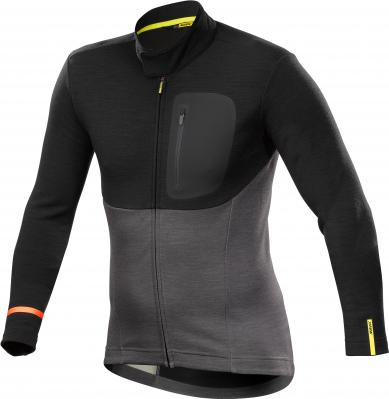 Allroad Thermo LS Jersey Black/Asphalt: Aus mittelschwerem Material mit aufgerautem Innenfutter, perfekt für die Übergangszeit auf dem Bike und zu Fuß. Ergonomischer Kragen mit Druckknopf-Verschluss.