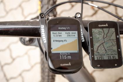 Climb-Pro links zeigt den aktuellen Anstieg an