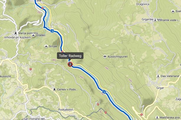 ... aber wunderschön und nahezu verkehrsfrei sind. Der Weg quert dann noch einmal die Hauptstraße und mündet in den schönen, neuen Radweg nach Nova Gorica.