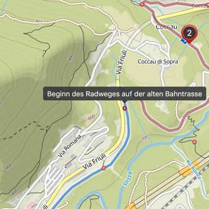 Kurz vor Tarvis, wo der neu ausgebaute Kanaltalradweg erst so richtig beginnt, verlassen wir ihn schon wieder Richtung Predilpass.