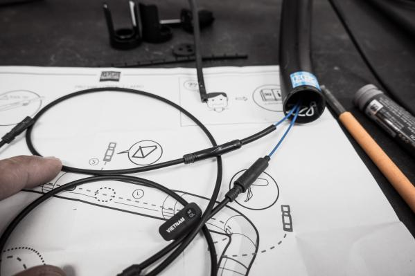 Wir ziehen die beiden Enden des Y-Kabels vorsichtig und gleichzeitig durch den Lenker...