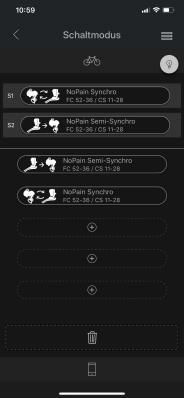 Im Schaltmodus-Menü erstelle ich mir einen Synchro-Shift-Modus und einen Semi-Synchro-Shift-Modus und weise sie den einstellbaren Schaltmodi S1 bzw. S2 zu.