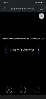 Der ANT/Bluetooth LE Modus empfiehlt sich zur Kommunikation mit Smartphones und Fahrradcomputern.