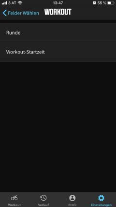 oder Workout-Funktionen können 11 Datenfelder gewählt und gereiht werden. Im Zoom lassen sie sich dann am Gerät ein- oder ausblenden.