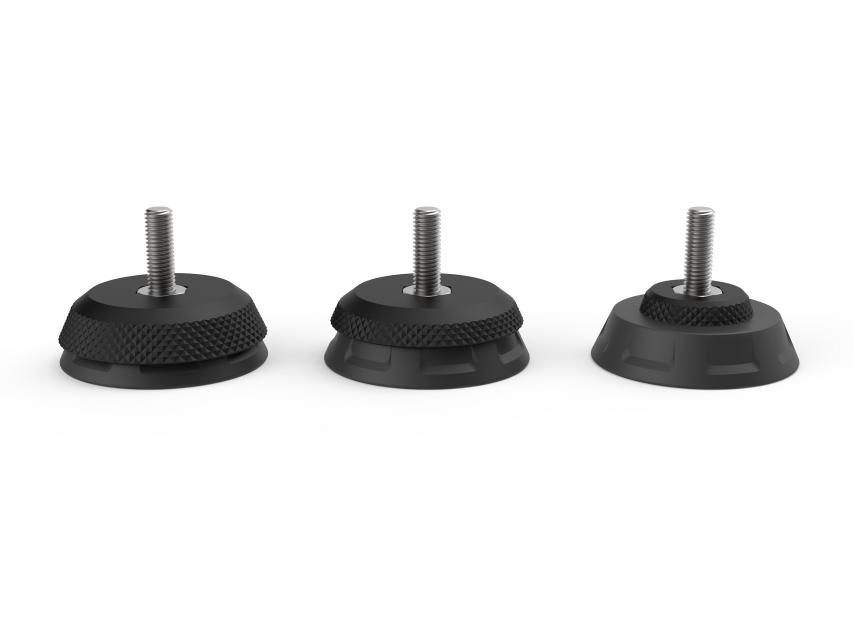 Die unterschiedlichen Platten der AXIS-Füße erlauben bis zu 5 Grad seitliche Bewegung.