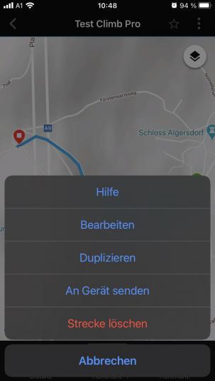 Z.B. in der Connect-App erstellte Strecken können direkt an die Uhr gesendet werden.