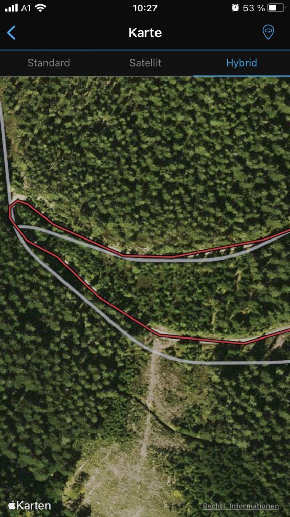 Exakter der Forststraße gefolgt als es die Karte tut - so soll es sein.