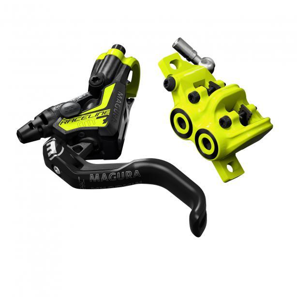 Magura MT7 Raceline  Bremsgriff:Carbotecture SL Bremshebel: 1-Finger HC Kolben: 4 Design: raceline yellow Gewicht: 255 g Preis (Set): 479,80 Euro