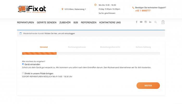 """... wählen im iFix.at Onlineshop """"iPhone 7 Mikrofon Reparatur"""" + """"Gerät einsenden""""..."""