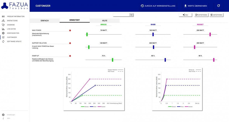 Das erweiterte Setup erlaubt die stufenlose Anpassung aller drei Modi getrennt voneinander. Es sind mehrere Profile speicher-, ex- und importierbar.