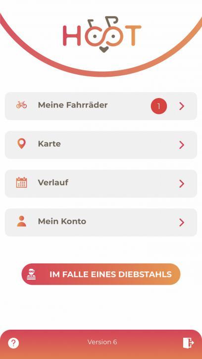Die Menüauswahl in der App.