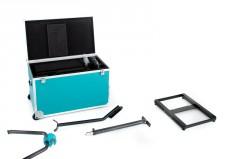 Grundgestell aus beschichtetem Alu mit vier Gummifüßen und einer Querstrebe. Dient zur elastischen Aufnahme des Bremsaggregats und ermöglicht einen leichten Wiegetritt.