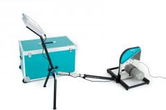 Verbindungskabel (verbindet das Steuergerät mit dem Bremsaggregat), Netzteil (zur zusätzlichen Versorgung der Elektronik und zum Laden des Akkus)