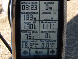 Die totale Information: GPS, Strecke, Puls, Watt, etc.