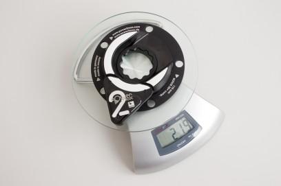 der Rotor-Compact-Sensor wiegt 219 Gramm; wenn wir davon die 51g vom original Rotor-Spider abziehen, erhalten wir ein Sensor-Mehrgewicht von nur 168g