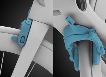 die integrierten Bremsen sorgen für minimalen Luftwiderstand und reduziertes Gewicht