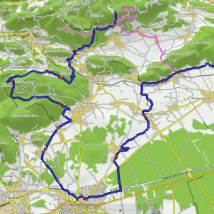 rosa die Fahrrad-Variante, blau die vorgeschlagene MTB-Variante