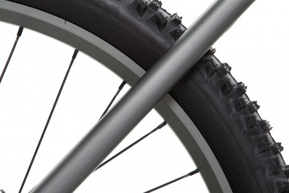 titangrau eloxierte Laufräder und Sattelstrebe