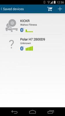 Sensoren-Übersicht (hier: KICKR und Polar HR-Gurt)