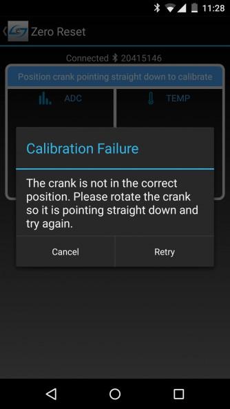 Auf eine falsche Stellung des Kurbelarms im Zuge der Kalibrierung folgt diese Fehlermeldung