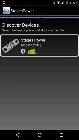 In der Nähe befindliche Stages-Powermeter werden aufgelistet.