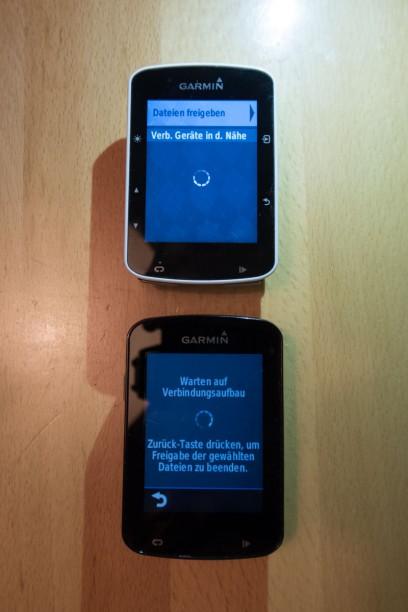 Der Datentransfer zwischen zwei Garmin Geräten sollte doch auch über Modell-Grenzen hinweg möglich sein. Was erst nicht vielversprechend aussah ...
